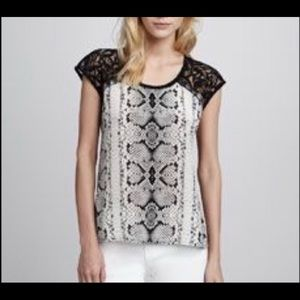 Nanette Lapore silk and lace snakeskin print top